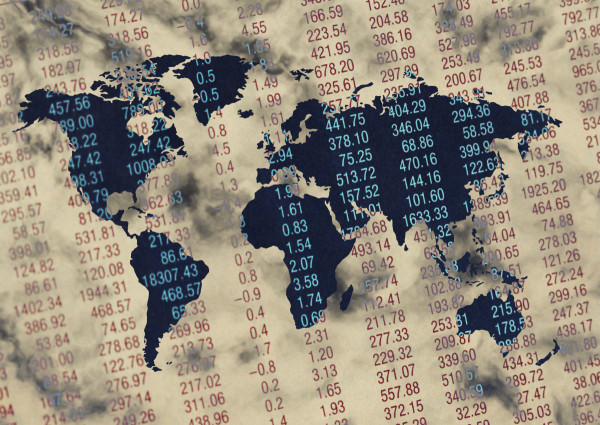 Map Projected on Stock Market Listings